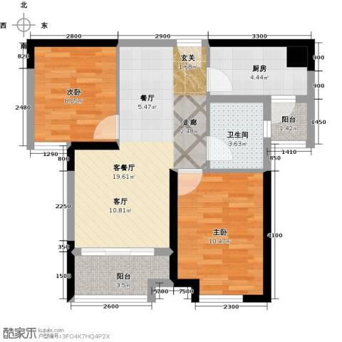 中铁城锦南汇2室1厅1卫1厨66.00㎡户型图
