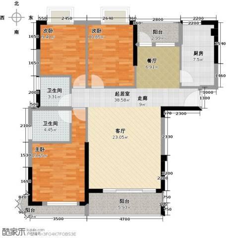 海投绿苑新城3室0厅2卫1厨127.00㎡户型图