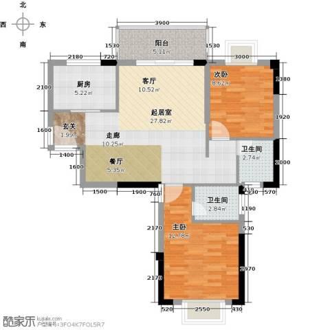 海投绿苑新城2室0厅2卫1厨86.00㎡户型图
