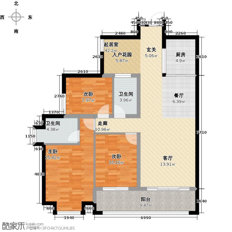 卓越明郡111.89㎡卓越明郡3室2厅2卫1厨1阳台1户型3室2厅2卫