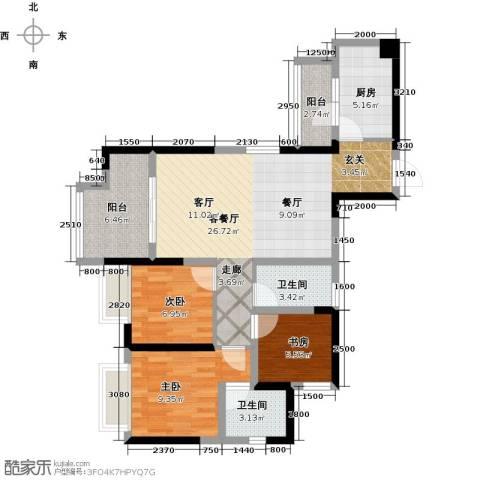 中铁城锦南汇3室1厅2卫1厨89.00㎡户型图