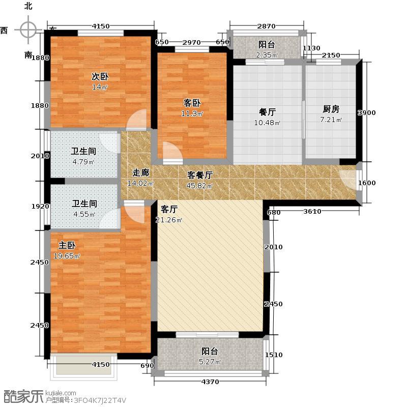 朗曼新城130.00㎡3B-1户型3室2厅2卫