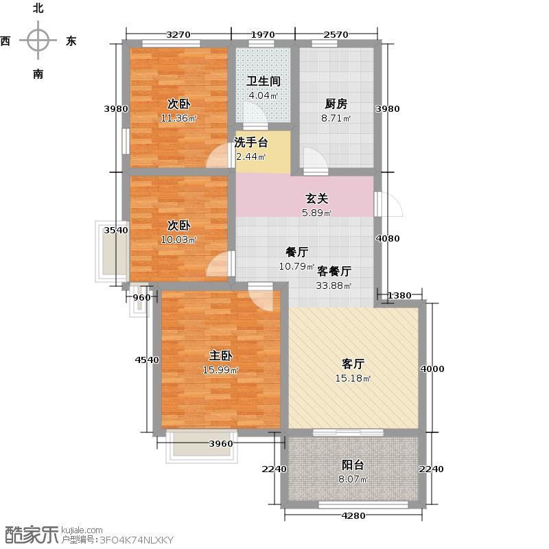 苏州山湖一号105.00㎡小高层 B1户型3室2厅1卫-副本