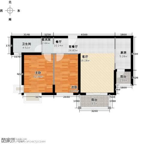 郑西鑫苑名家2室1厅1卫1厨93.00㎡户型图