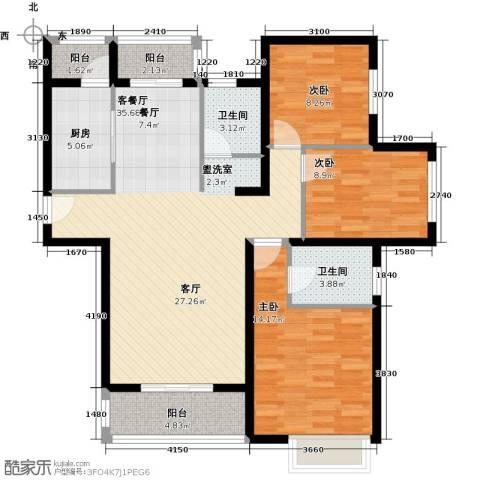 郑西鑫苑名家3室1厅2卫1厨126.00㎡户型图