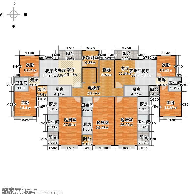 恒大泉都1、4号楼平面图户型