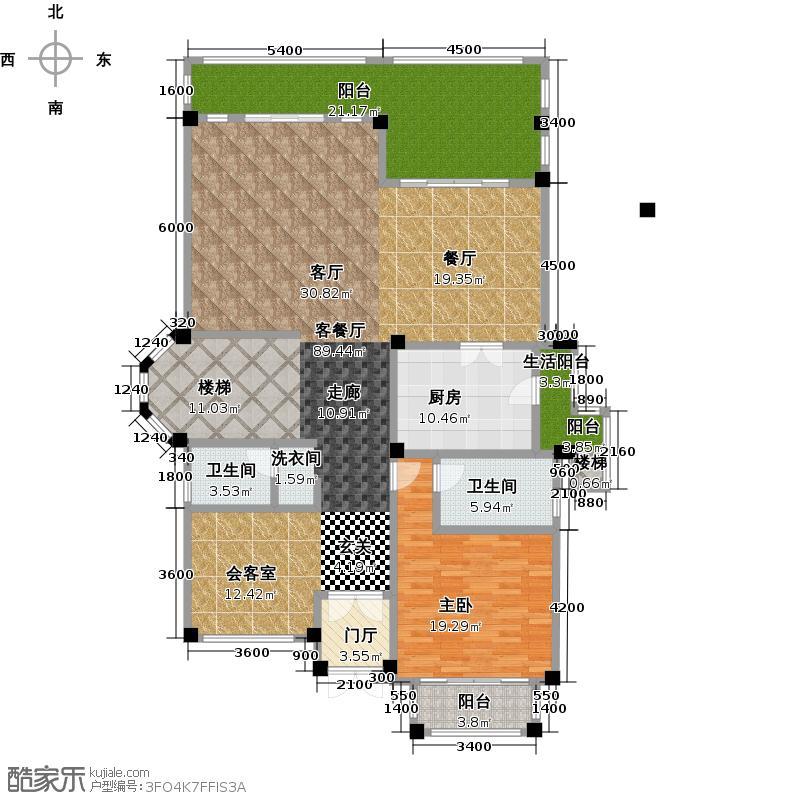 鹭湖宫7区一层平面图户型1室1厅2卫1厨
