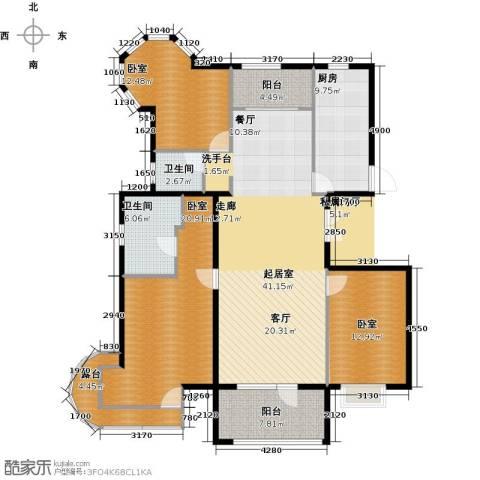 北京城建・琨廷2卫1厨140.00㎡户型图