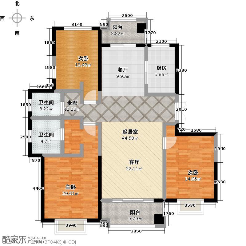 郑州国瑞城洋房B3户型3室2卫1厨