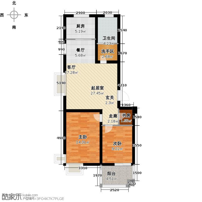 海印蓝湾79.45㎡两房两厅一卫E户型2室2厅1卫
