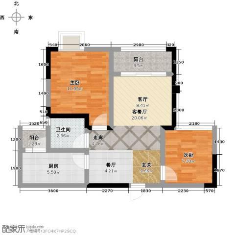 仁美大源印象2室1厅1卫1厨68.00㎡户型图