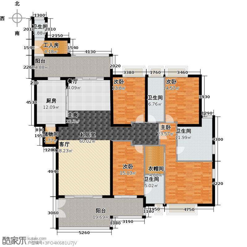 汇景新城E1-A3栋01单元户型4室4卫1厨