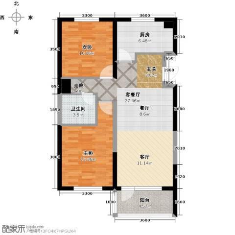 营口万科海港城2室1厅1卫1厨91.00㎡户型图