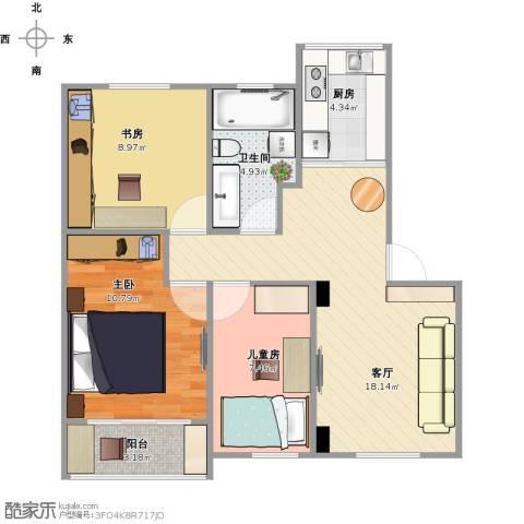 祥德路274弄小区3室1厅1卫1厨79.00㎡户型图