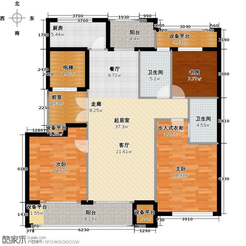 云锦花苑125平3室2厅2卫户型