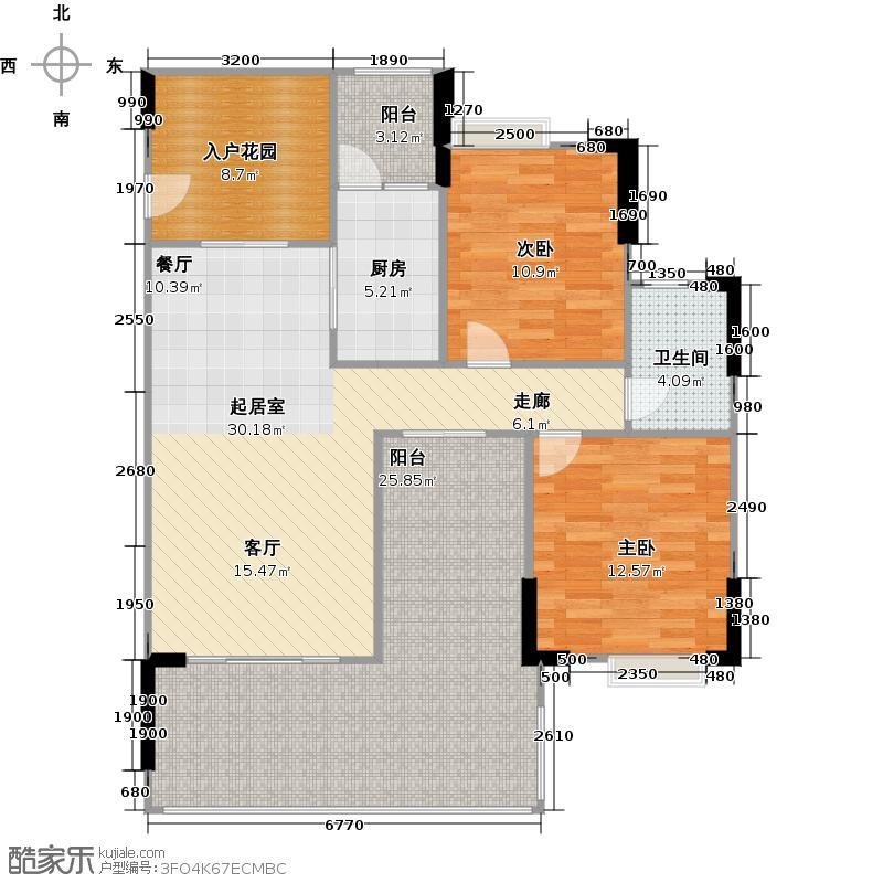 好美嘉园二期5栋标准层01东南向户型2室1卫1厨