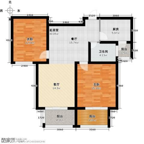 西上海名邸2室0厅1卫1厨90.00㎡户型图