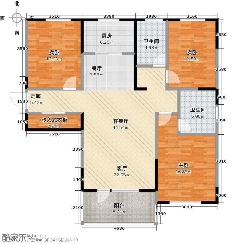 朗诗绿色街区19#C1户型3室1厅2卫1厨