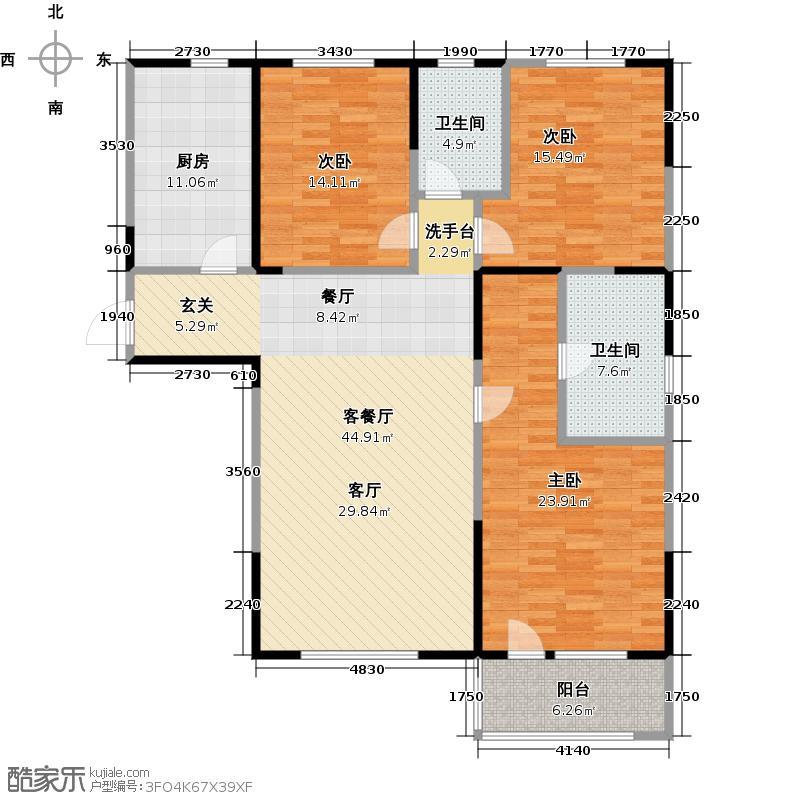 朗诗绿色街区18#D户型3室1厅2卫1厨