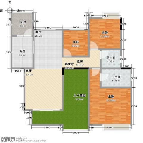 武汉锦绣香江3室1厅2卫1厨145.00㎡户型图
