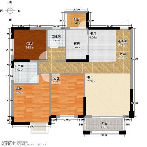 广大上城3室0厅2卫1厨121.00㎡户型图