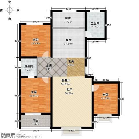 天润国际城3室1厅2卫1厨140.00㎡户型图