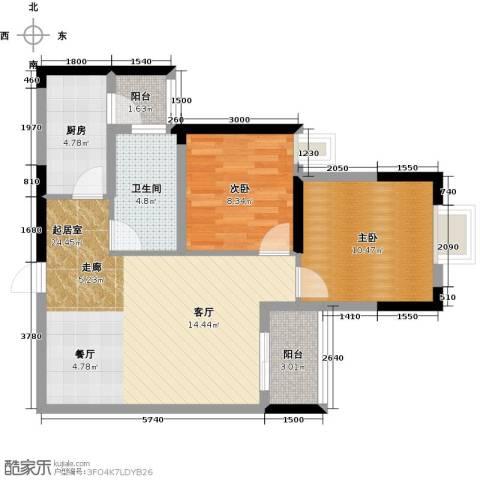 广大上城2室0厅1卫1厨78.00㎡户型图