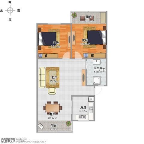 中山北园2室2厅1卫1厨105.00㎡户型图