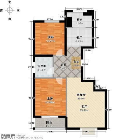 天润国际城2室1厅1卫1厨93.00㎡户型图