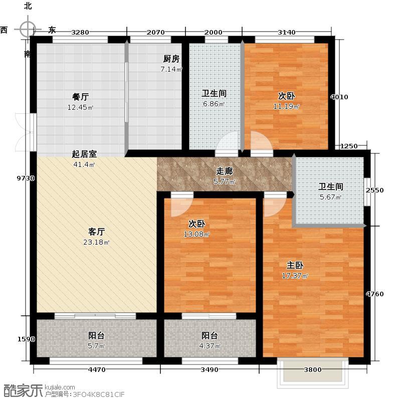 中房颐园128.00㎡E1户型3室2厅2卫