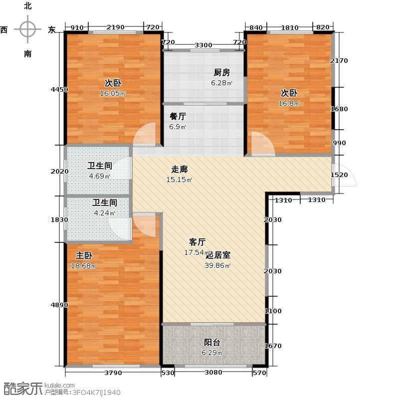 上郑广场・锦里119.40㎡D1户型3室2厅2卫