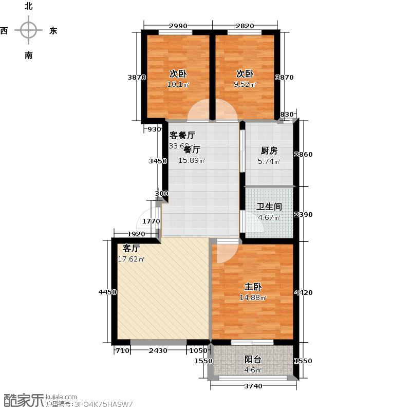 博维・左岸香颂户型3室1厅1卫1厨