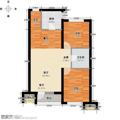 华润橡树湾2室1厅1卫1厨93.00㎡户型图