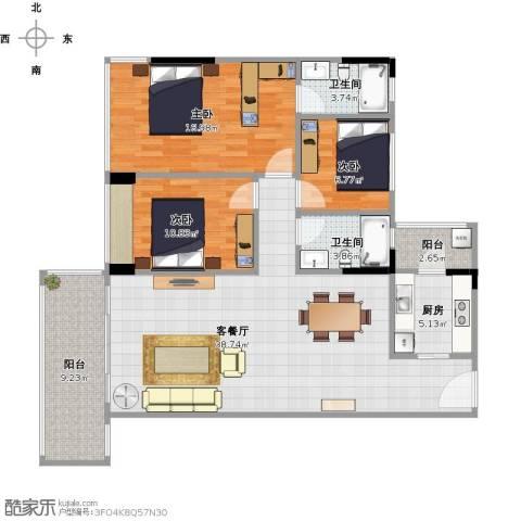 盈彩美地3室1厅2卫1厨135.00㎡户型图