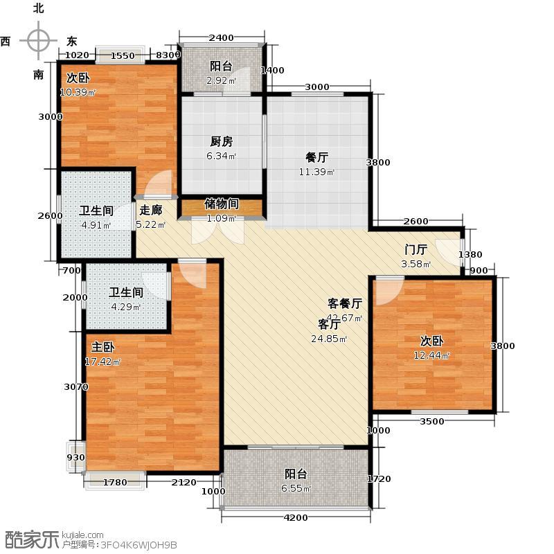 仁恒运杰河滨花园户型3室1厅2卫1厨