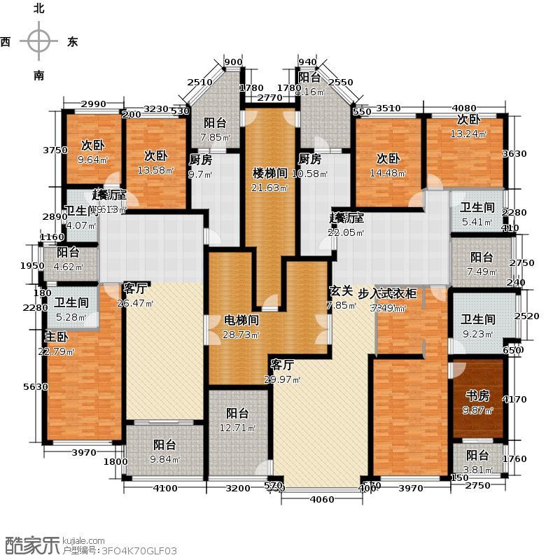 恒大华府1栋2单元标准层平面示意图户型7室4卫2厨