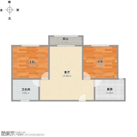 广洋华景苑2室1厅1卫1厨57.00㎡户型图