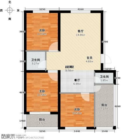 建新御景园3室0厅2卫0厨113.00㎡户型图