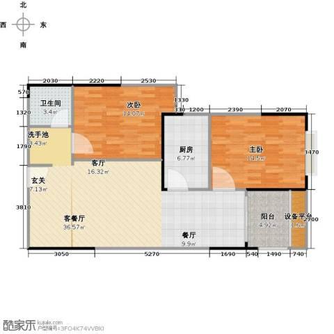 宏江中央广场2室1厅1卫1厨110.00㎡户型图