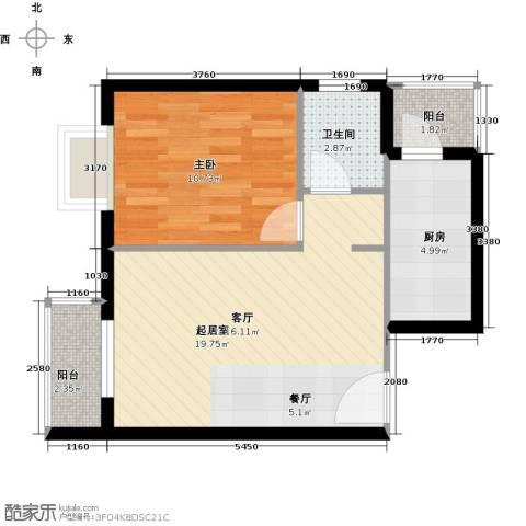 加州水郡1室0厅1卫1厨60.00㎡户型图