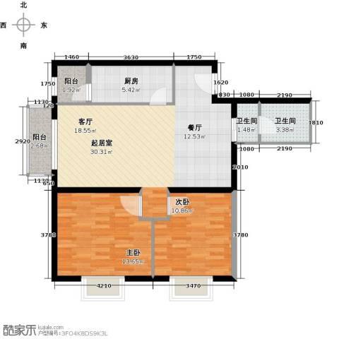 加州水郡2室0厅2卫1厨99.00㎡户型图