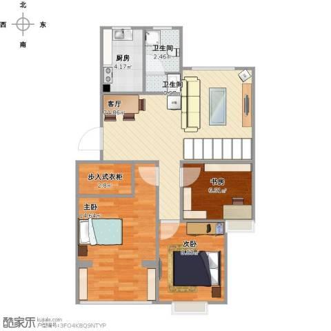 星光名庭3室1厅2卫1厨85.00㎡户型图
