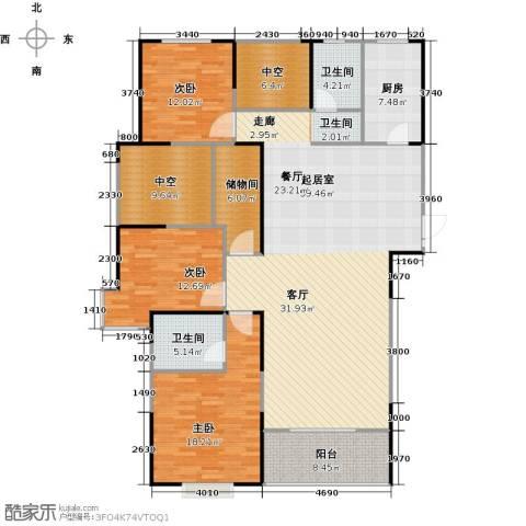 宏江中央广场3室0厅2卫1厨168.00㎡户型图