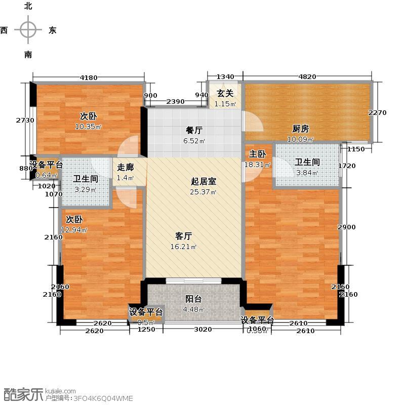 新贵华城三期户型3室2卫1厨