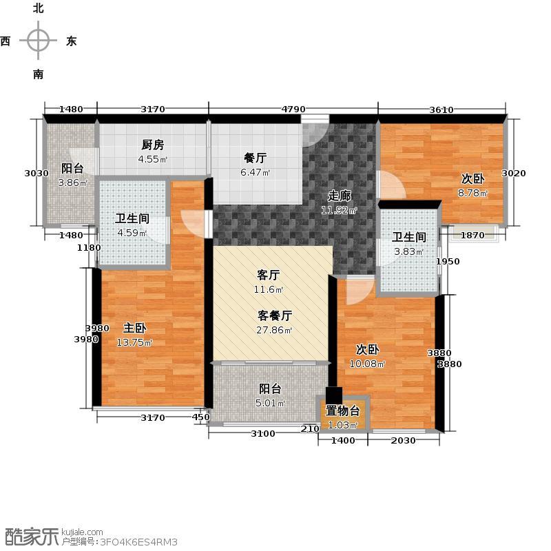 翠屏领东天河1座3座02单元户型3室1厅2卫1厨