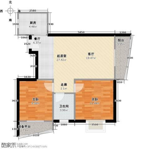 山水兰庭2室0厅1卫1厨88.00㎡户型图
