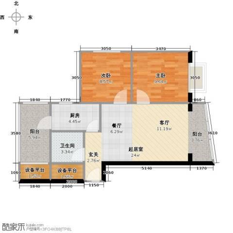 山水兰庭2室0厅1卫1厨82.00㎡户型图
