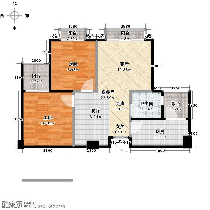 博盛康郡2011年10月预售1期1批次3栋A2jpg户型2室1厅1卫1厨