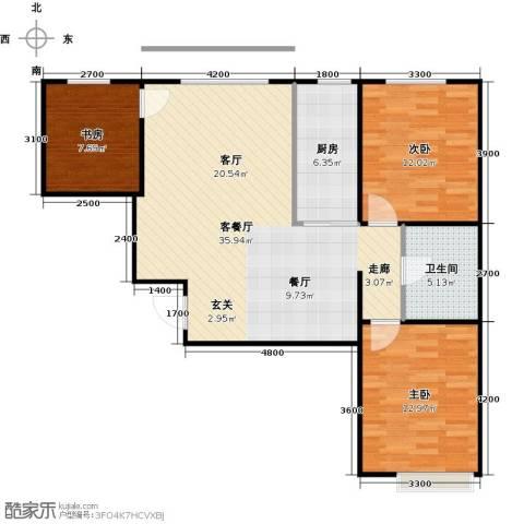 新华名座3室1厅1卫1厨100.00㎡户型图