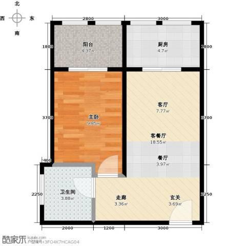 新华名座1室1厅1卫1厨67.00㎡户型图
